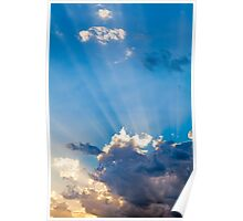 Clouds In The Blue Sky and Sun Rays Poster