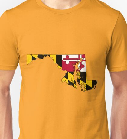 Maryland Map With Maryland State Flag Unisex T-Shirt