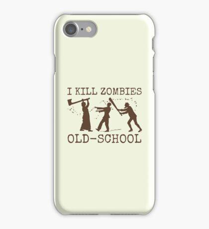 Funny Retro Old School Zombie Killer Hunter 2 iPhone Case/Skin