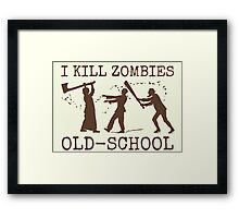Funny Retro Old School Zombie Killer Hunter 2 Framed Print