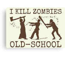 Funny Retro Old School Zombie Killer Hunter 2 Canvas Print