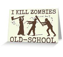 Funny Retro Old School Zombie Killer Hunter 2 Greeting Card