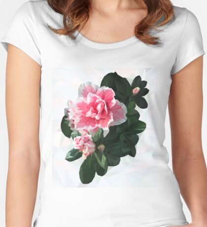 Azalea. Polygonal pink flower with green leaves. Women's Fitted Scoop T-Shirt