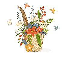 Basket with a bright bouquet of flowers. Photographic Print