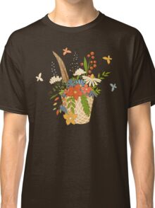 Basket with a bright bouquet of flowers. Classic T-Shirt