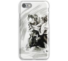 Samurai vs samurai watercolor art print, ronin battle iPhone Case/Skin