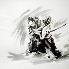 Samurai vs samurai watercolor art print, ronin battle by Mariusz Szmerdt