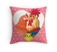 Rooster family.  Throw Pillow