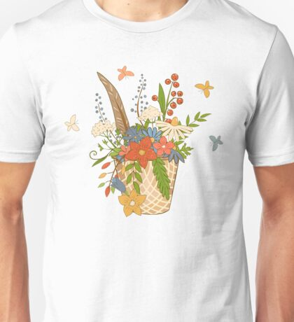 Basket with a bouquet of flowers, green seamless background Unisex T-Shirt