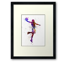 young man basketball player one hand slam dunk Framed Print