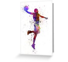 young man basketball player one hand slam dunk Greeting Card