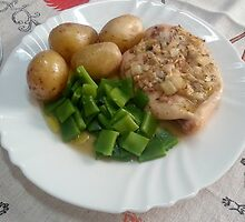 Chicken Breasts In Red-wine Vinegar, Rosemary And Garlic by Michael Redbourn