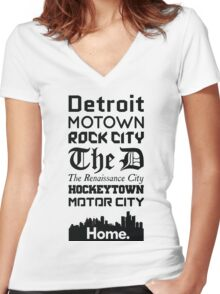 Detroit Is My Home - Black Edition Women's Fitted V-Neck T-Shirt