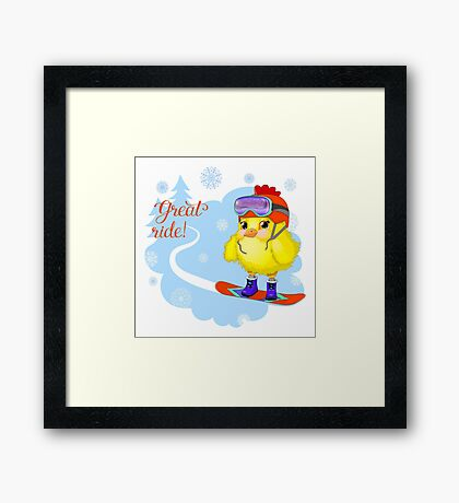 Great ride young cock on a snowboard.  Framed Print