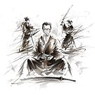 Samurai large poster, japanese warriors painting by Mariusz Szmerdt