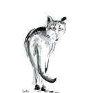 Cat watercolor art print, cats painting for sale by Mariusz Szmerdt