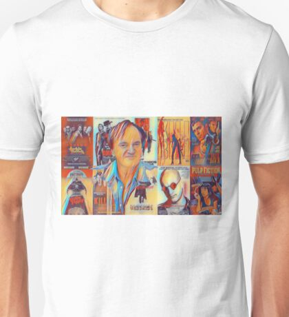 Quentin Tarantino Portrait over Movie Posters  Unisex T-Shirt