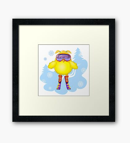 The young hen had learned to ski.  Framed Print