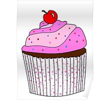 Pink Cupcake With Sprinkles Poster