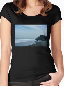 San Francisco Fog - Barely Discernible Golden Gate Bridge from China Beach  Women's Fitted Scoop T-Shirt