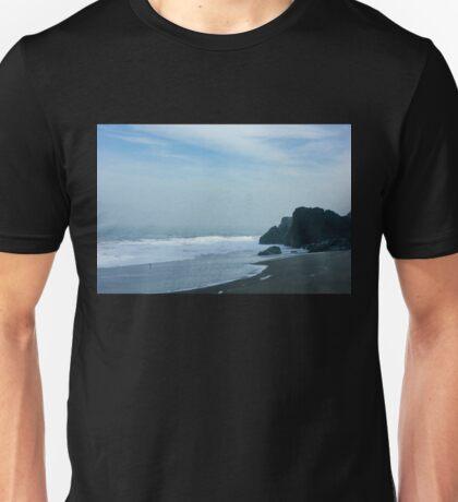 San Francisco Fog - Barely Discernible Golden Gate Bridge from China Beach  Unisex T-Shirt