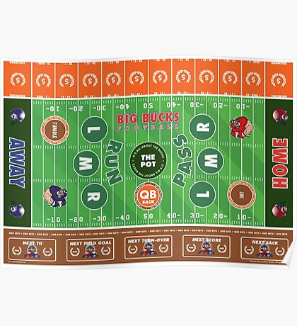 Big Bucks Football - Brown & Orange Poster