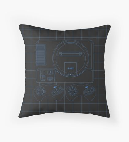 Megadrive Outline single (black)) Throw Pillow