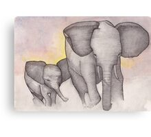 Elephants Running Canvas Print