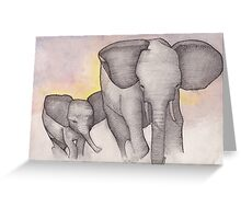 Elephants Running Greeting Card