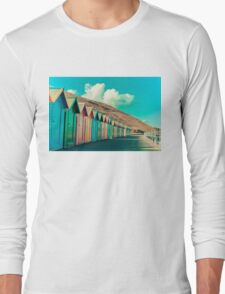 Colorful beach huts Long Sleeve T-Shirt