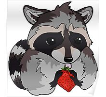 Adorable Baby Raccoon Kit Eating a Strawberry Poster