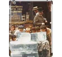 Licking blocks of ice during heat wave in New York, July, 1911 iPad Case/Skin
