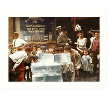Licking blocks of ice during heat wave in New York, July, 1911 Art Print