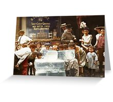 Licking blocks of ice during heat wave in New York, July, 1911 Greeting Card