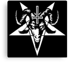 Satanic Goat Head with Pentagram (white) Canvas Print