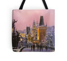 Prague Charles Bridge  Winter Evening Tote Bag