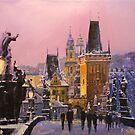 Prague Charles Bridge  Winter Evening by Yuriy Shevchuk