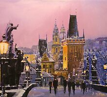 Prague Charles Bridge  Winter Evening by Yuriy Shevchuk