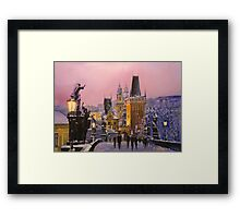 Prague Charles Bridge  Winter Evening Framed Print