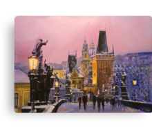Prague Charles Bridge  Winter Evening Canvas Print