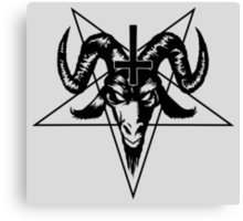 Satanic Goat Head with Pentagram (black) Canvas Print