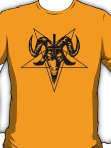 Satanic Goat Head with Pentagram (black) T-Shirt