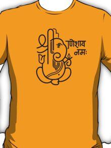 Ganesh Ganesa Ganapati 5 (black outline) T-Shirt