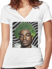 Kodak Black Broccoli Head #FREEKODAK Women's Fitted V-Neck T-Shirt