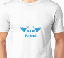 Halo Patrol blue on gray Unisex T-Shirt