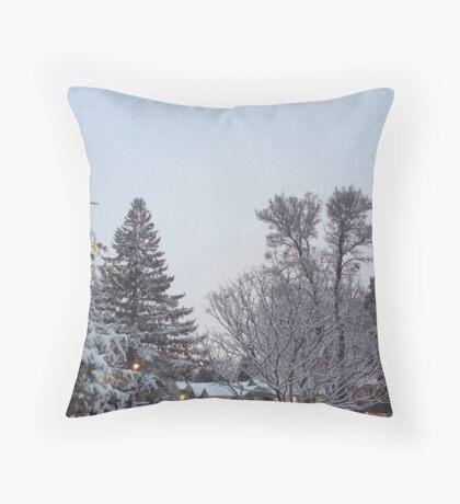 Winter Morning Snow Scene Throw Pillow