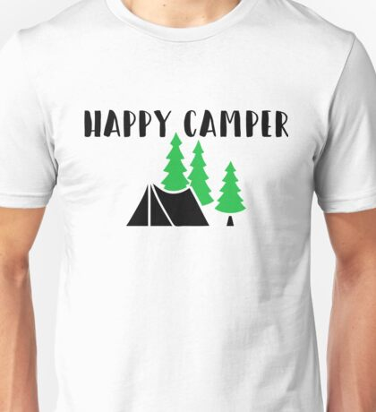 "Cute, Funny Camping ""Happy Camper"" Unisex T-Shirt"