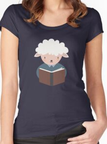 Cute Sheep Reading A Book  Women's Fitted Scoop T-Shirt