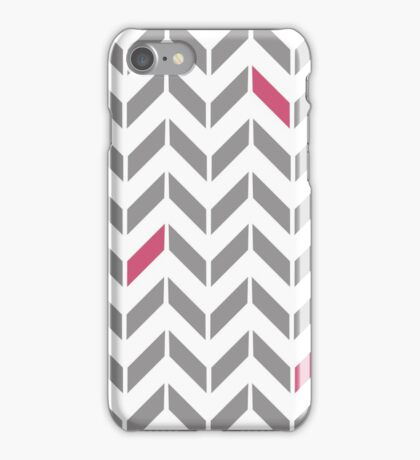 Pink & Gray Herringbone iPhone Case/Skin