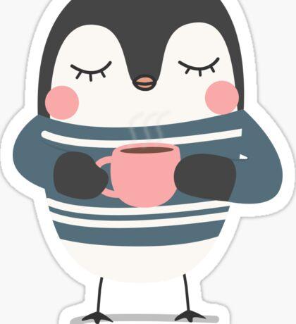 Cute Penguin Drinking Coffee Sticker